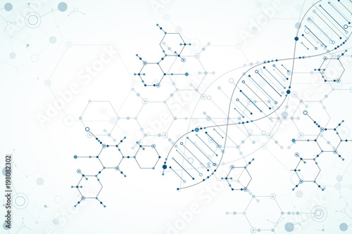 Carta da parati  Science template, wallpaper or banner with a DNA molecules.