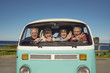 canvas print picture - Portrait of senior people through vintage camper van windshield