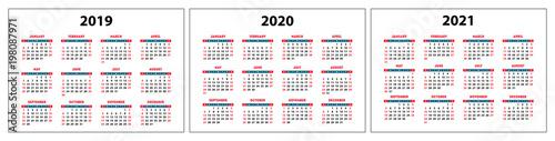 Fotografia  calendar 2019, 2020, 2021, red set pocket grid, vector template, week starts on