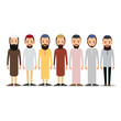 Muslim man. Set Muslim or Arab man stand in the traditional clothing. Isolated characters of representatives of Islam on a white background in a flat style