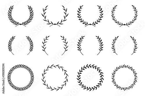 Collection of different laurel wreaths Wallpaper Mural