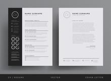 Professional CV Resume Template Design And  Letterhead / Cover Letter - Vector Minimalist