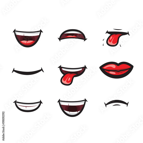 Smiling lips, mouth with tongue, white toothed smile and sad expression mouth and lips vector icon Wallpaper Mural
