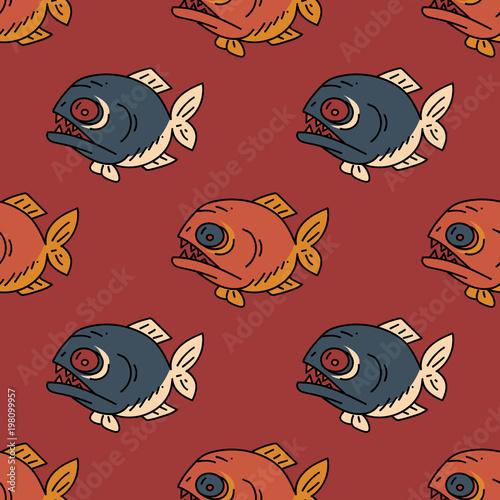 Fotografie, Obraz  Piranha seamless pattern