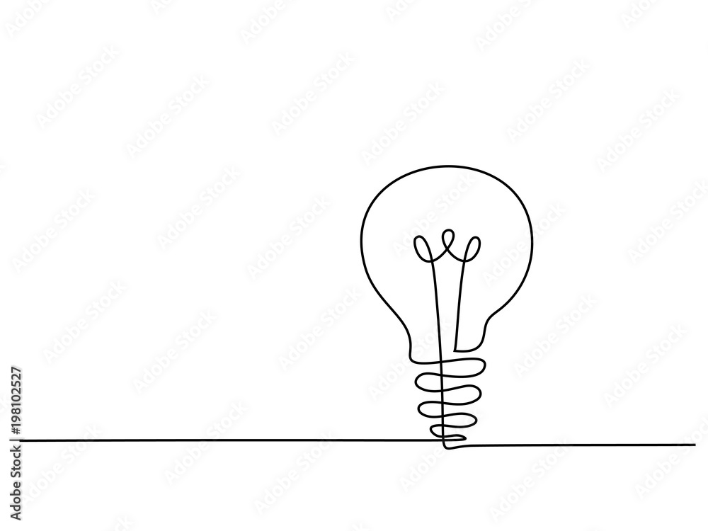 Fototapety, obrazy: Continuous line drawing. Electic light bulb. Eco idea metaphor. Vector illustration