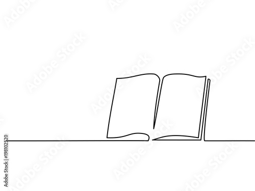 Fototapeta Opened book with pages isolated on white. Continuous line drawing. Vector illustration obraz