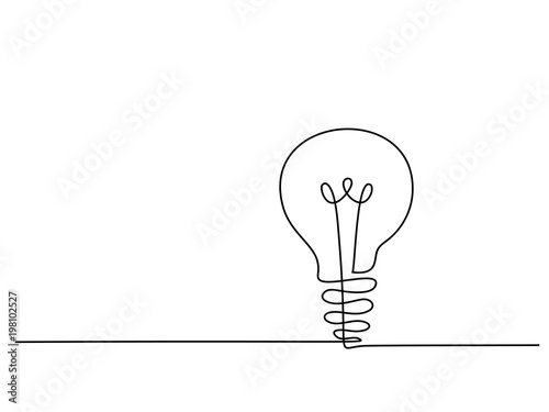 Obraz Continuous line drawing. Electic light bulb. Eco idea metaphor. Vector illustration - fototapety do salonu