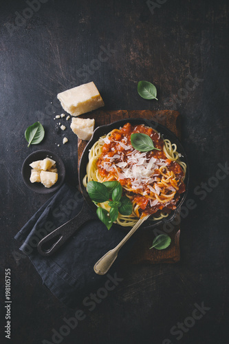 Frying pan with pasta Canvas Print