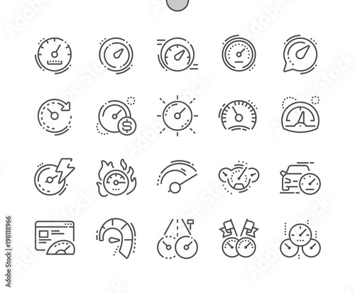 Fototapety, obrazy: Speedometer Well-crafted Pixel Perfect Vector Thin Line Icons 30 2x Grid for Web Graphics and Apps. Simple Minimal Pictogram
