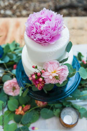Wedding Cake With Bohemian Style Flower Decoration Buy This Stock Photo And Explore Similar Images At Adobe Stock Adobe Stock