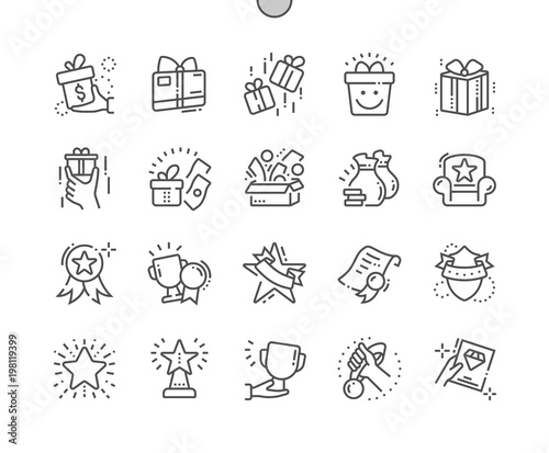 Fotografía  Rewards Well-crafted Pixel Perfect Vector Thin Line Icons 30 2x Grid for Web Graphics and Apps
