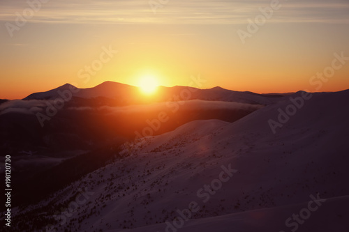 Fotobehang Zwavel geel Beautiful landscape with snowy mountains in winter morning