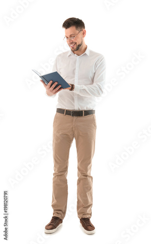 Male teacher with book on white background Wallpaper Mural