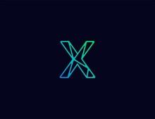 Abstract Line Art  Logo. Letter X Tech Logo Template