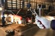 Mechanic repairing a car in garage Auto repair car engine