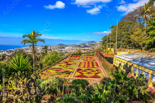 Beautiful panoramic view of famous botanical garden in Funchal, Madeira island, Portugal