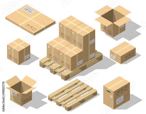 Fotografía  Cardboard boxes and wood pallet isometric vector set isolated on white backgroun
