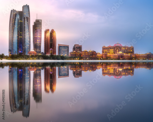 View of Abu Dhabi Skyline at sunrise, UAE