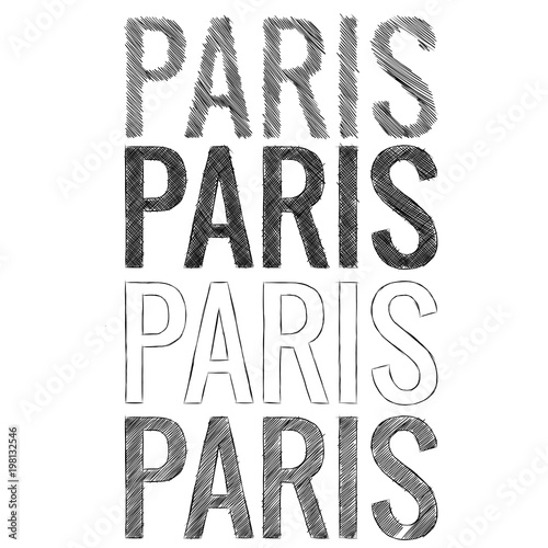 the inscription Paris fonts in the style of a quick sloppy