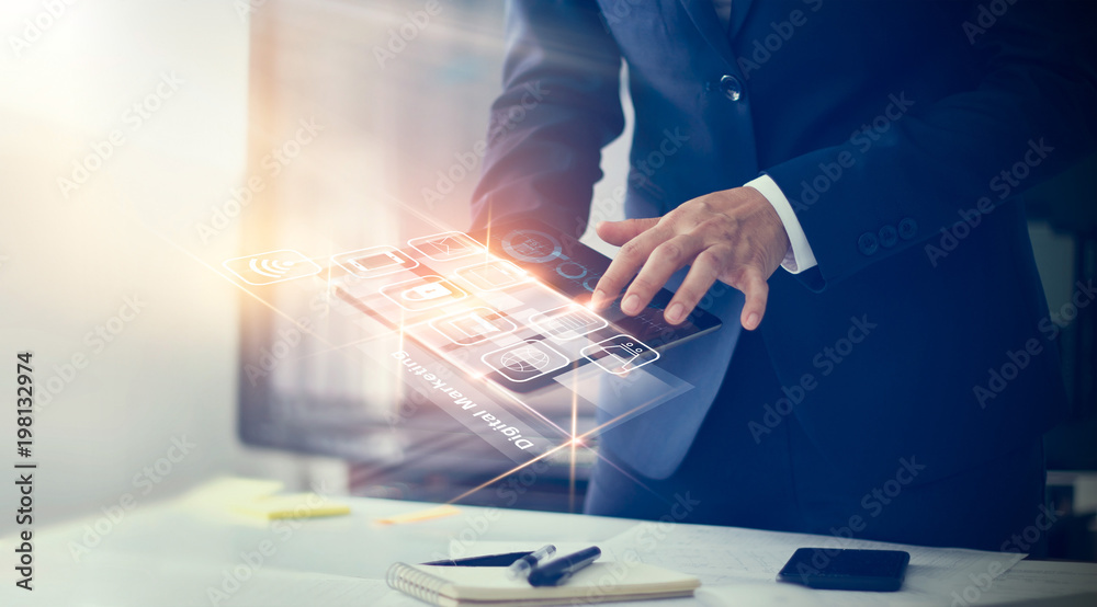 Fototapety, obrazy: Digital marketing. Businessman using modern interface payments online shopping and icon customer network connection on virtual screen. Business innovation technology concept