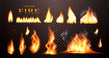 Realistic Flame, Vector 3d Fir...