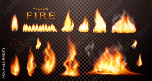 Realistic flame, vector 3d Fire collection, red lights, sparks, isolated on trensparent background.