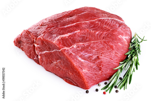Door stickers Meat Raw beef meat, pepper and rosemary isolated on white background.