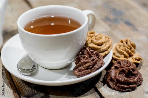 Foto op Plexiglas Chocolade tea with dessert
