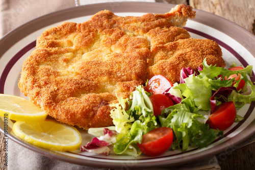 Delicious veal cutlet Milanese with lemon and fresh vegetable salad close-up Wallpaper Mural