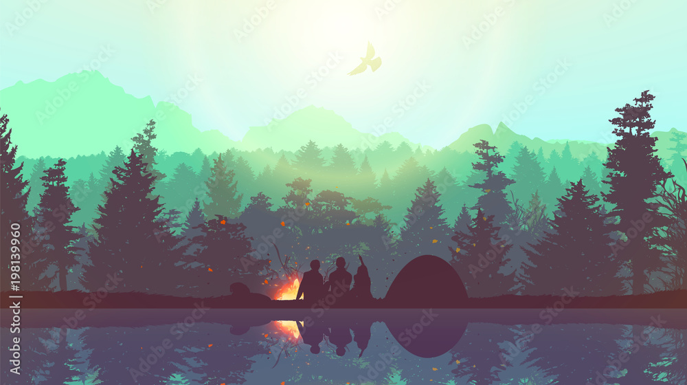 Fototapeta People camping, adventure and travel concept, beautiful forest, mountain and sky, double exposure, vector illustration.