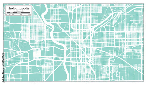 Indianapolis USA City Map in Retro Style. Outline Map ...