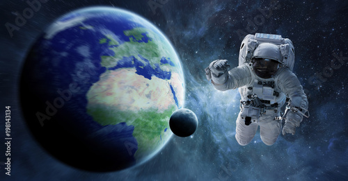 Foto op Aluminium Nasa Astronaut floating in space 3D rendering elements of this image furnished by NASA