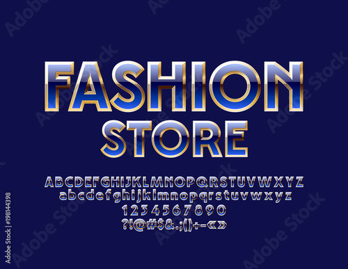 Fototapety, obrazy: Vector Elegant Blue and Golden Label Fashion Store. Luxury Font. Glossy Alphabet Letters, Numbers and Symbols