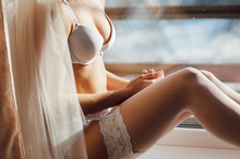 Sexy Lady In White Lingerie Re...