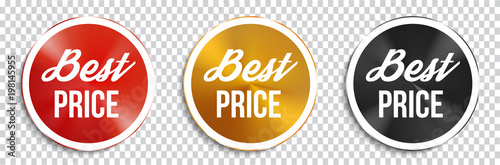 Fotografía  Best price circle banners on transparent background