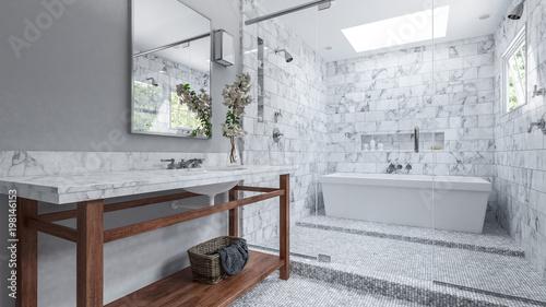Modernes Badezimmer Mit Weißen Fliesen Und Badewanne Kaufen Sie - Weisse backstein fliesen
