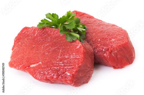 Staande foto Vlees Raw beef on white background