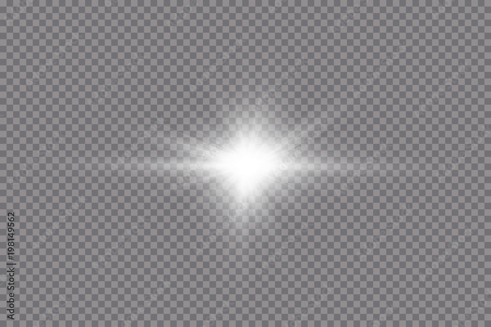 Obraz Glow light effect. Starburst with sparkles on transparent background. Vector illustration. Sun
