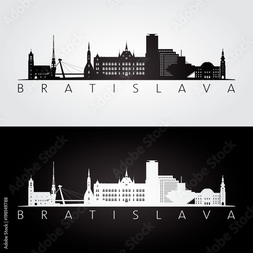 Bratislava skyline and landmarks silhouette, black and white design, vector illustration Wallpaper Mural
