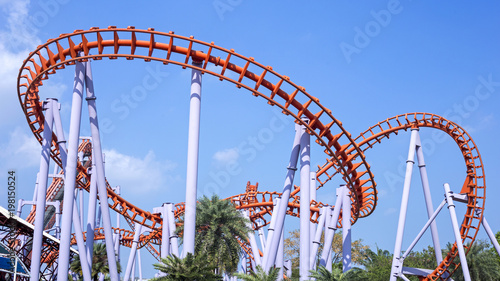 Papiers peints Attraction parc Roller coaster with blue sky