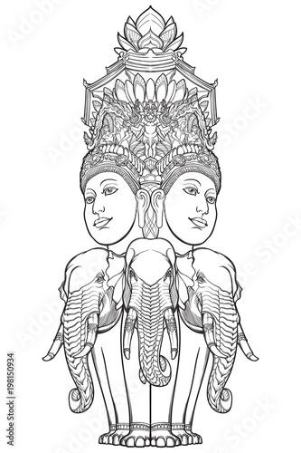 Statue Representing Trimurti Trinity Of Hindu Gods Brahma Vishnu