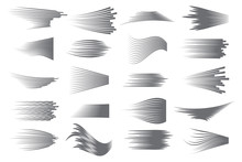 Speed Lines Isolated Set. Comics Motion Lines For Fast Moving Object Or Moving Quickly Person. Black Lines On White Background.