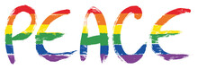 LGBTQ Peace Letters Vector Hand Painted With Rounded Brush