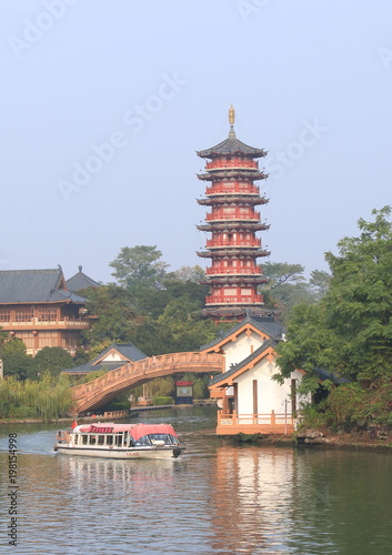 Fotobehang Guilin Folded Brocade Hill pagoda landcape Guilin China