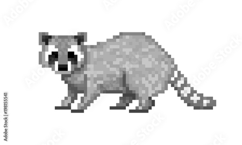 Cute gray common raccoon, pixel art symbol isolated on white