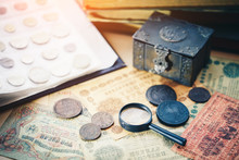 Collection Of Old Coins And Ba...