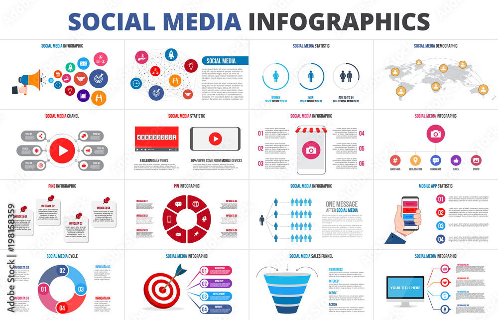 Fototapety, obrazy: Vector sales funnel, statistic, map, online video chanel and pins. Social media infographic set. Presentation slides.