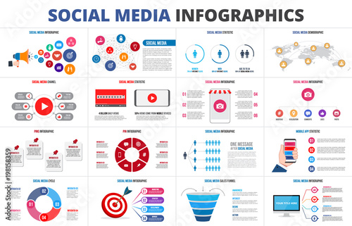 Fototapeta Vector sales funnel, statistic, map, online video chanel and pins. Social media infographic set. Presentation slides. obraz