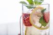 Strawberry juice and lemon soda juice mixed with soda