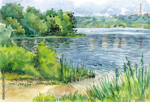 Fotobehang Pistache Watercolor hand-drawn summer landscape